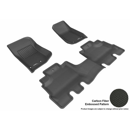 Jeep Wrangler Black Carpet - 3D MAXpider 2014-2017 Jeep Wrangler Unlimited Front & Second Row Set All Weather Floor Liners in Black with Carbon Fiber Look