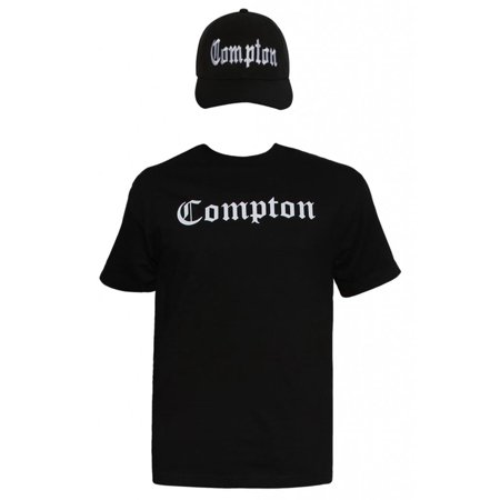 - Mens Compton Kit - Black Short-Sleeve T-Shirt + Black Adjustable Cap