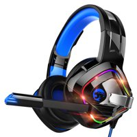 Gaming Headset for PC, PS4, PS5, Xbox One Controller, Over Ear Headphoness with Noise Cancelling Mic, Soft Memory Earmuffs, LED Light, Stereo Bass Surround Sound Fit for Nintendo Switch Laptop Mac