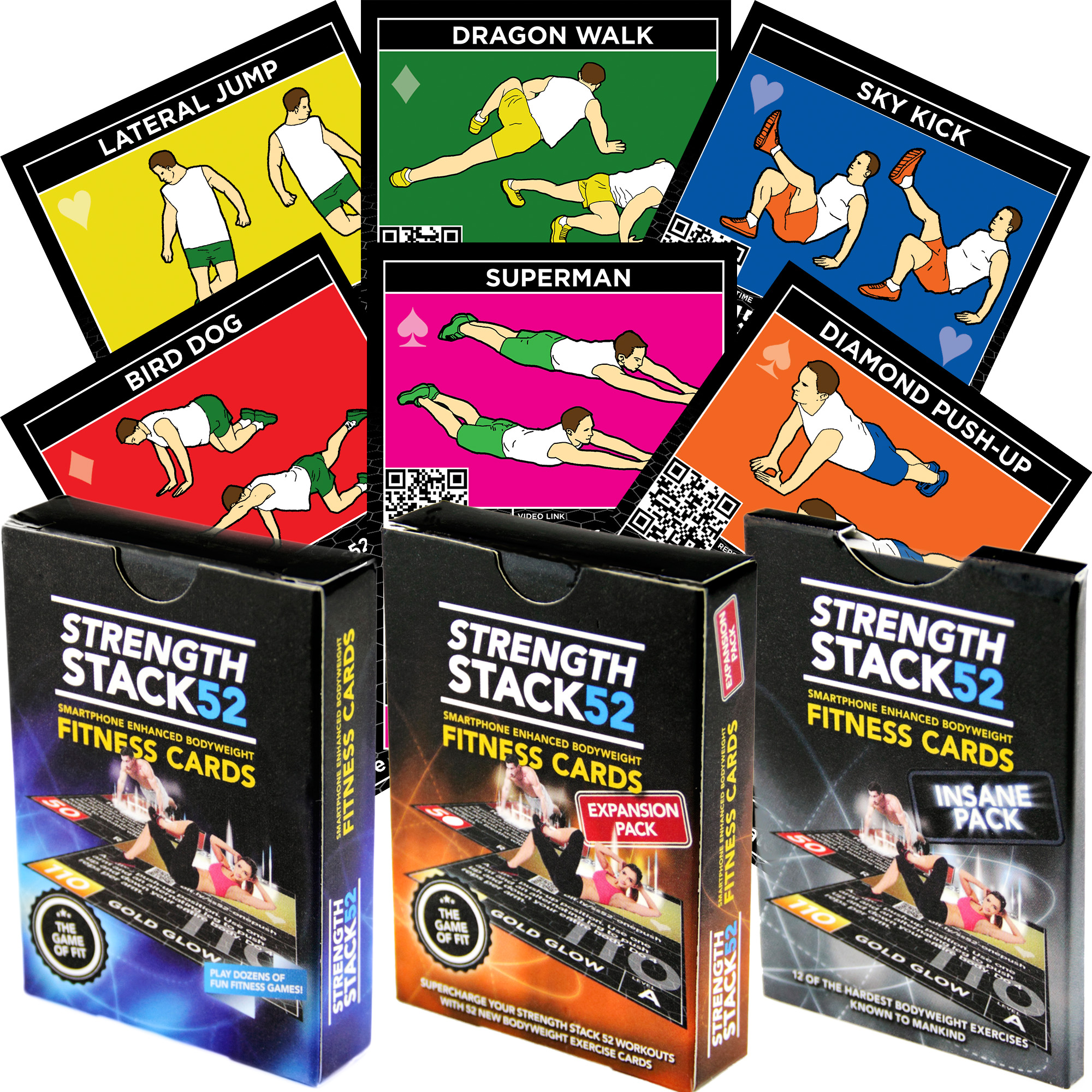 Exercise Cards Tri Pack: Strength Stack 52 Bodyweight Workout Playing Card Game. Designed by a Military Fitness Expert.... by Stack 52