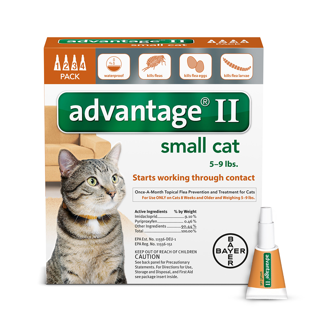 Advantage II Flea and Tick Treatment for Small Cats, 4 Monthly Treatments