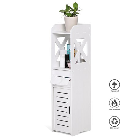 Hilitand 2 Sizes Waterproof Bathroom Cabinets Furniture for Living Room Bedroom Kitchen Hallway Bathroom , Bathroom Furniture, Toilet Storage Cabinet White