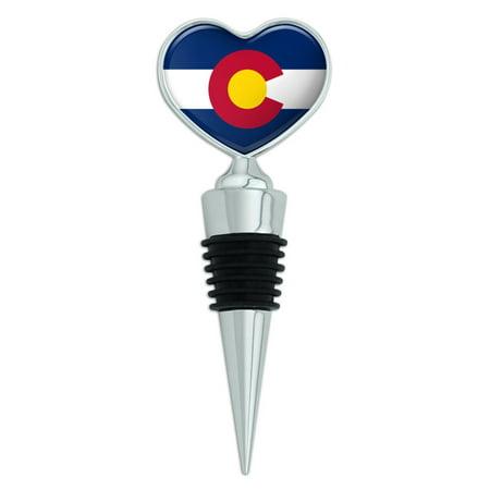 Colorado Heart - Colorado State Flag Heart Love Wine Bottle Stopper