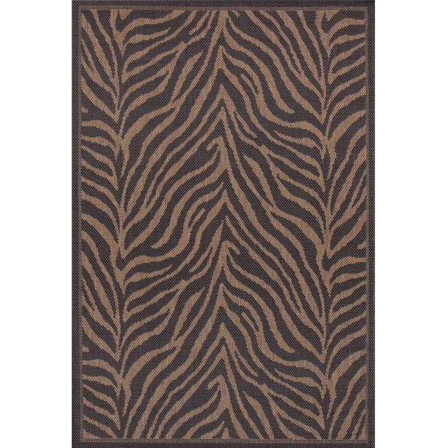 Couristan 15140121076076N 7 ft. 6 in. x 7 ft. 6 in. Recife Zebra Rug - Black & Cocoa - image 1 de 1