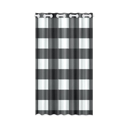 MKHERT Black White Buffalo Check Lumberjack Plaid Window Curtain Living Room,Bedroom Window Drapes 52x84 - Plaid Lining