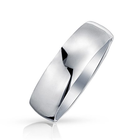 Minimalist Plain Simple 925 Sterling Silver Dome Couples Wedding Band Ring For Women For Men 7MM