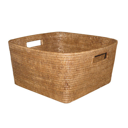 artifacts trading Rattan Square Basket with Handles