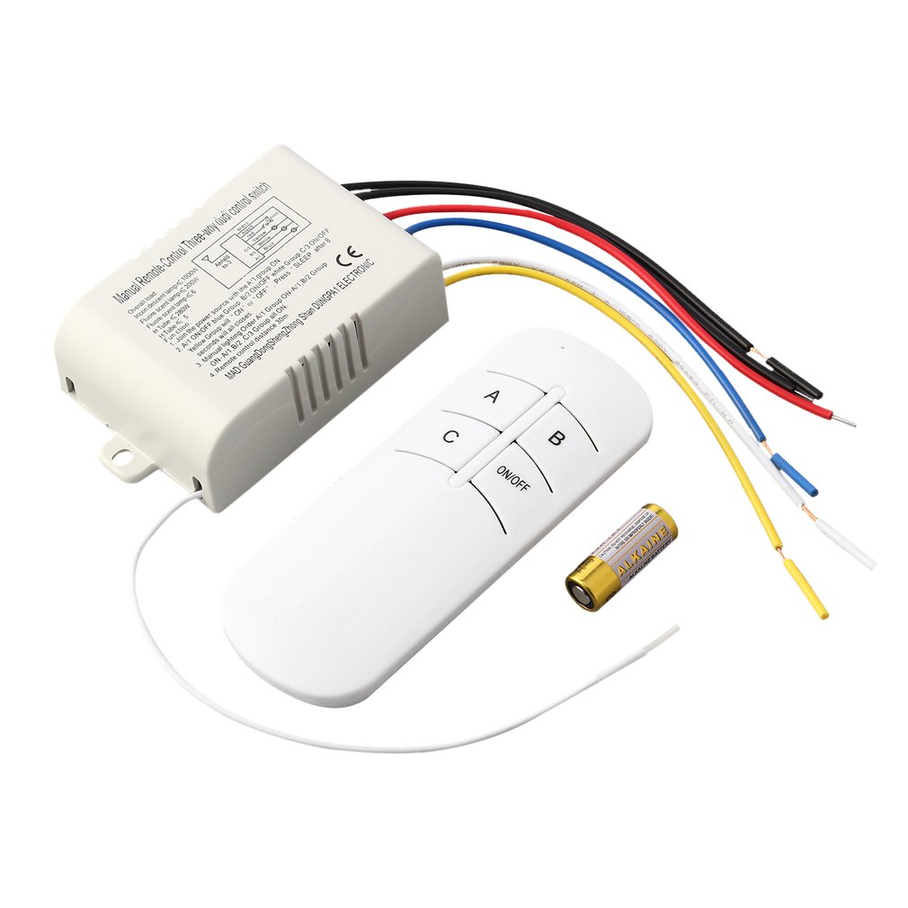 220V 3 Way ON/OFF Digital RF Remote Control Switch Wireless For Light Lamp