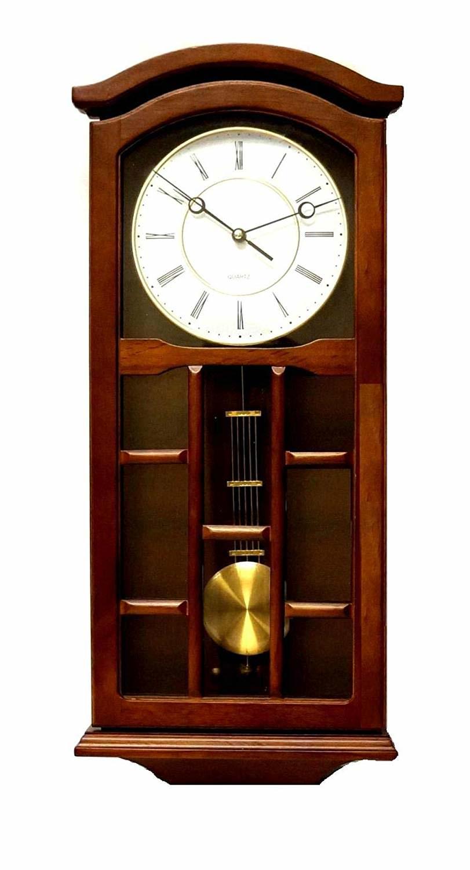Silent Decorative Wood Clock with Swinging Pendulum, Best Pendulum Wall Clock