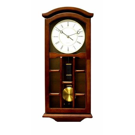 Jack David J&D Best Pendulum Wall Clock, Silent Decorative Wood Clock Swinging Pendulum, Battery Operated Living Room, Kitchen, Office & Home Décor (Dark Brown -TQWW4079 =24'' x 9.5'' x 3''