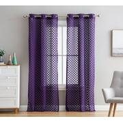 HLC.ME Herringbone Lace Thick Semi Sheer Premium Grommet Top Window Curtain Panels for Kids Room & Bedroom - Set of 2 Panels