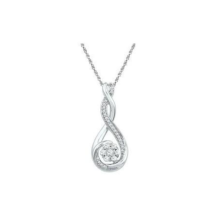 10kt White Gold Womens Round Diamond Twisted Teardrop Cluster Pendant 1/4 Cttw - image 1 de 1