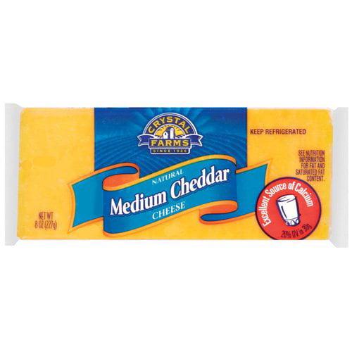 Crystal Farms Medium Cheddar Cheese, 8 oz