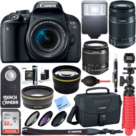 Canon EOS Rebel T7i DSLR Camera + EF-S 18-55mm IS STM & 55-250mm IS II Lens + 64GB Extreme SDXC Memory UHS-I Card + Accessory Bundle