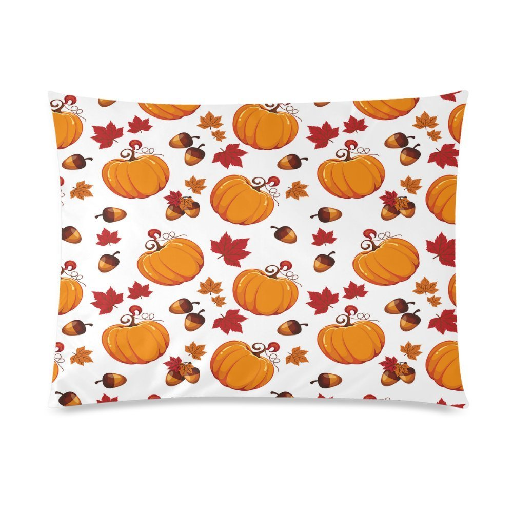 ZKGK Fall Harvest Pumpkin Glitter Home Decor Pillowcase 20 x 30 Inches,Red Maple Leaf... by ZKGK