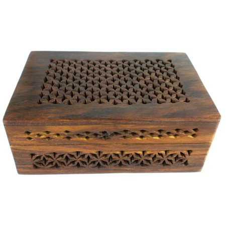 Handmade Lattice Cutwork Wood Box - Matr Boomie, A Fair Trade product distributed by a member of The Fair Trade Federation. By Global Crafts From USA