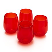 Reusable Plastic Glasses - Outdoor Cocktail Drinking Glasses - Set of 4