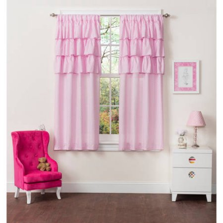 Mainstays Ruffle Girls Bedroom Curtains, Set of two by Idea Nuova