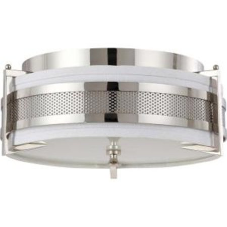 Medium Gray Slate - Nuvo Diesel - 3 Light Medium Flush w/ Slate Gray Fabric Shade