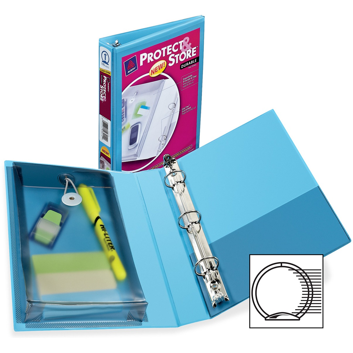 """Avery Mini Protect & Store View Binder w/Round Rings, 8 1/2 x 5 1/2, 1"""" Cap, Blue"""