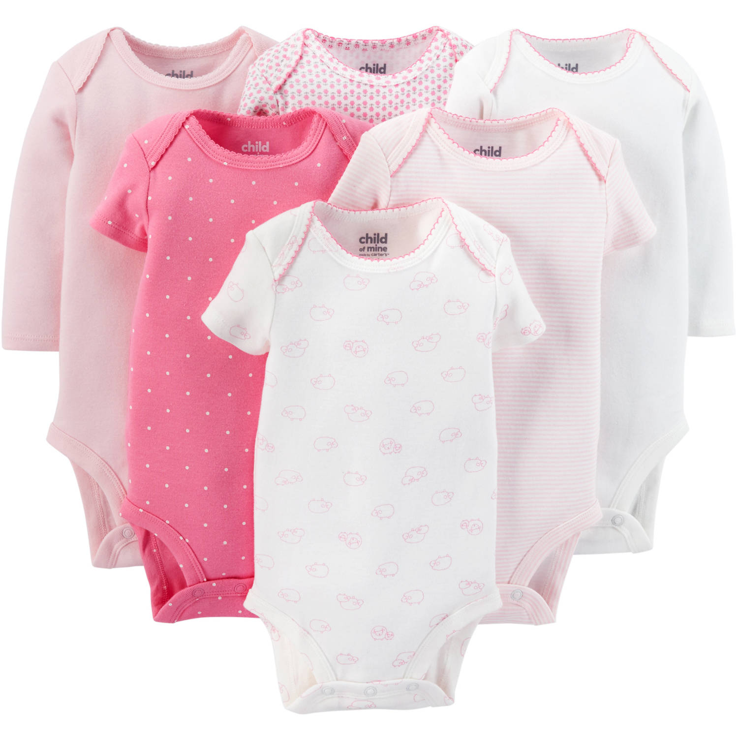 Child Of Mine By Carter's Newborn Baby Girl Bodysuits, 6 Pack
