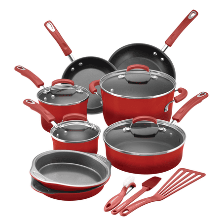 - Rachael Ray 15 Piece Hard Enamel Aluminum Nonstick Cookware Set