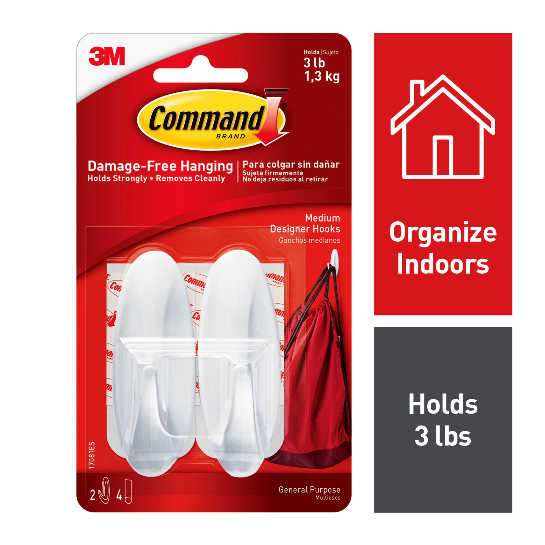 Command Designer Hooks, White, Medium, 2 Hooks, 4 Strips/Pack