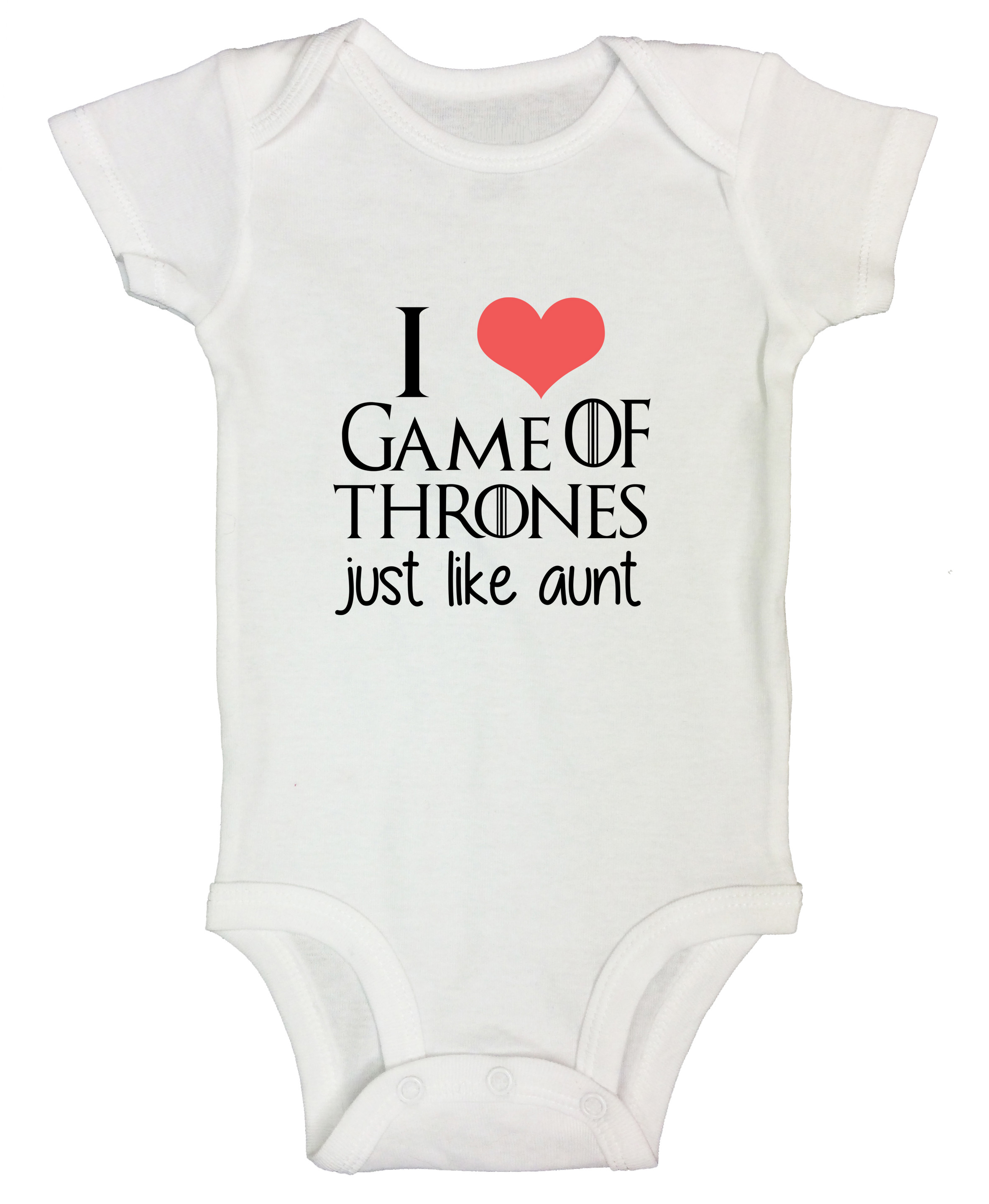 "b3f9d7a17e20f Game Of Thrones Onesie Kids Bodysuit ""I Love Game Of Thrones Just Like  Aunt"" 0-Newborn, White - Walmart.com"
