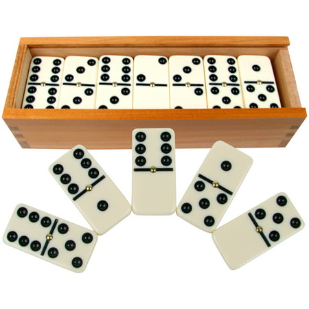 Premium Set of 28 Double Six Dominoes with Wood Case by Hey! (Dominos Gift)