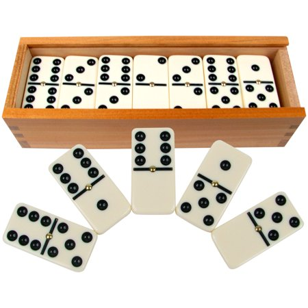Premium Set of 28 Double Six Dominoes with Wood Case by Hey! Play! Double Six Dominoes Rules