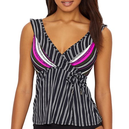 Anne Cole Signature Womens Sketchbook Stripe Wrap Tankini Top Style-19MT26236 Kenneth Cole Lined Tankini
