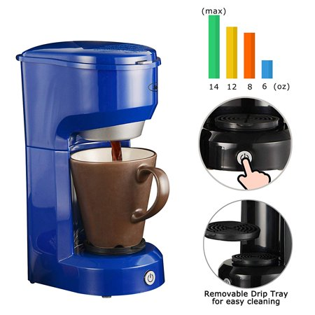 Single Serve Coffee Maker Brewer for Single Cup, K-Cup Coffeemaker With Permanent Filter, 6oz to 14oz Mug, One-touch Control Button with Illumination, Blue ()
