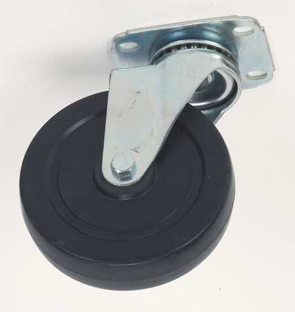 Swivel Plate Caster,Rubber,4 in.,165 lb. ZORO SELECT 4W906