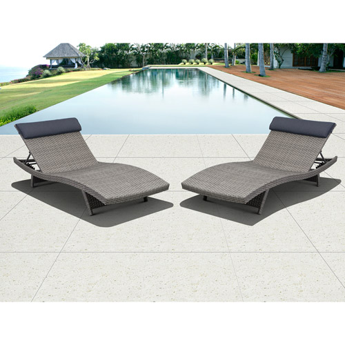 Florida Outdoor All Weather Wicker Loungers, Set of 2, Grey