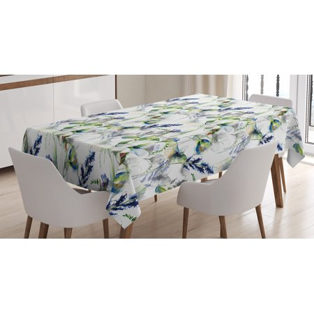 Flower Tablecloth, Floral Pattern with Sweet Pea Blossoms in Watercolor Paint Effect Spring Theme, Rectangular Table Cover for Dining Room Kitchen, 52 X 70 Inches, Green White Blue, by Ambesonne](Spring Themed Sweet 16)