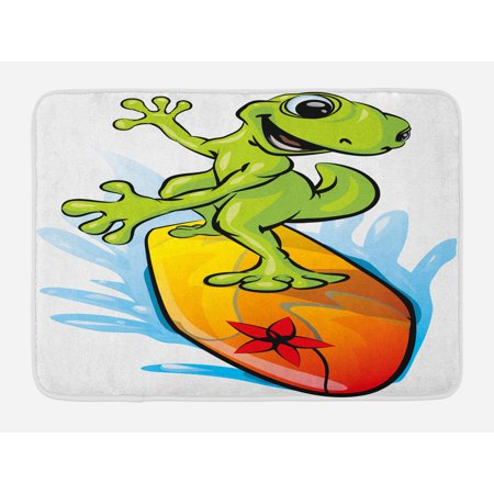 Ride The Wave Bath Mat, A Gecko Surfing with the Water Cute Animal Humor Cartoon, Non-Slip Plush Mat Bathroom Kitchen Laundry Room Decor, 29.5 X 17.5 Inches, Orange Lime Green - Cute Geckos