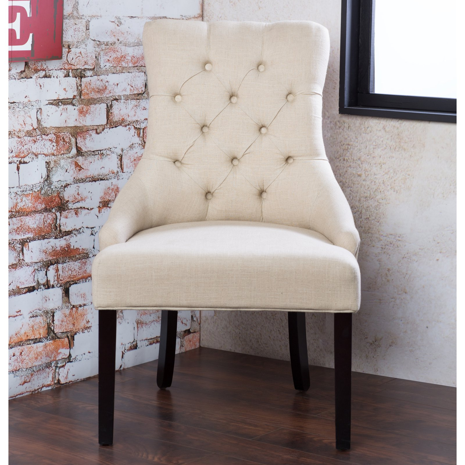 Furniture of America Jellan Tufted Flax Fabric Accent Chair - Set of 2