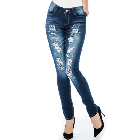 Crown Jeans (Rebel Love Juniors Mid Rise Distressed Jeans By 9)
