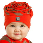 KidCuteTure Baby Girls Geranium Red Choco Stripe Flower Hat 3-6M
