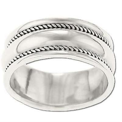 1PK Sterling Silver Ladies Rope Edge Band Ring size10 size10