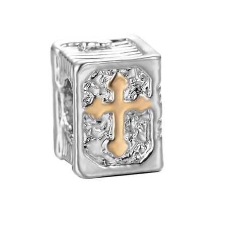 3D Cross Holy Bible Book Religious Charm Jewelry Beads Fit Pandora Compatible