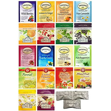 Twinings, Ahmad, Teekanne Variety Herbal Tea Pack. (36 count). Includes Our Exclusive HolanDeli Chocolate