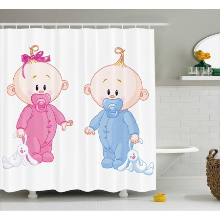 Boy Girl Shower (Gender Reveal Decorations Shower Curtain, Cheerful Boy and Girl with Bunny Pacifiers Twins, Fabric Bathroom Set with Hooks, 69W X 70L Inches, Light Blue and Pink Peach, by)