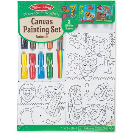 Melissa & Doug Canvas Painting Set: Animals - 3 Canvases, 8 Tubes of Paint