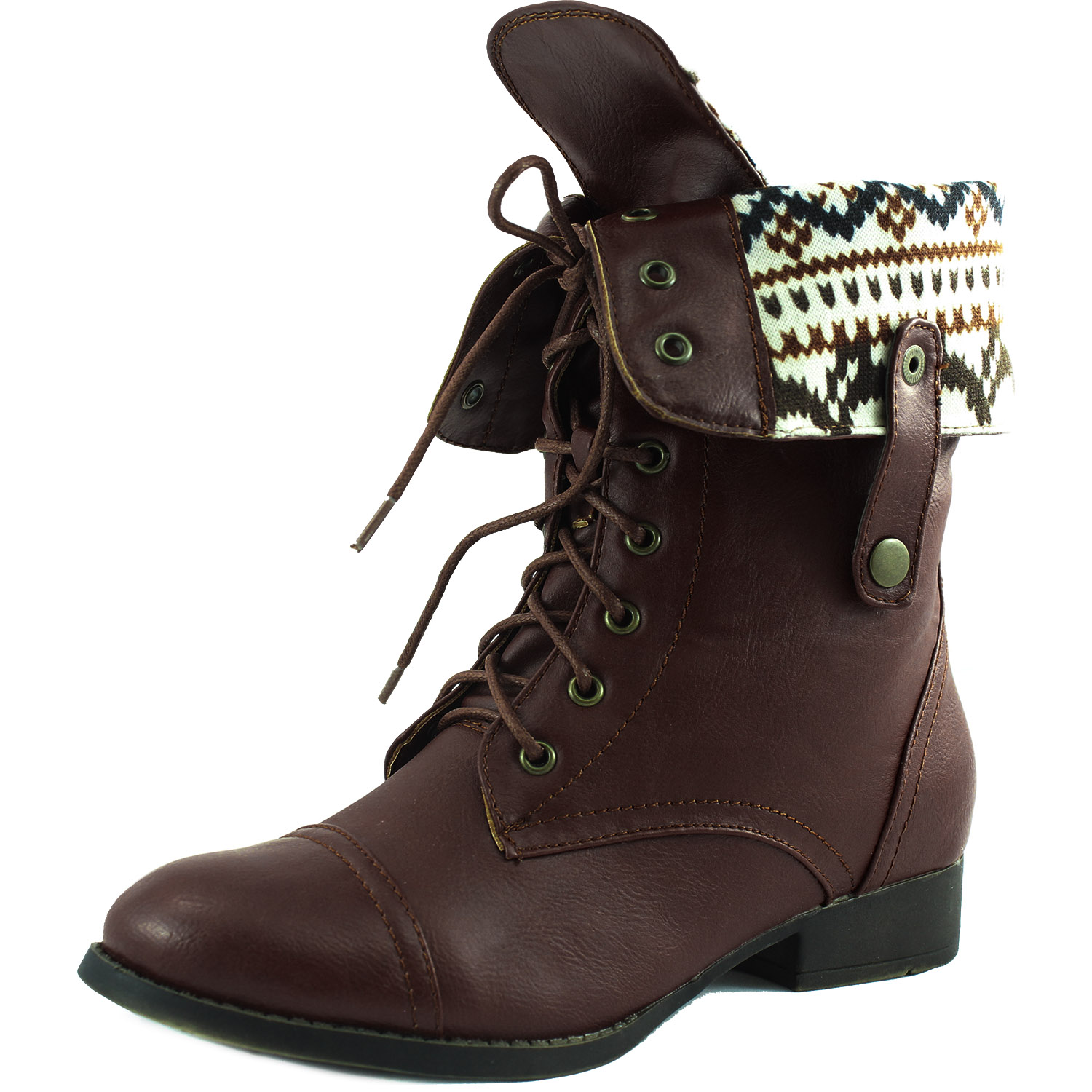Lace Up Fold Over Round Toe Military Combat Boot Dark Brown Color, Brown, 6 B(M) US