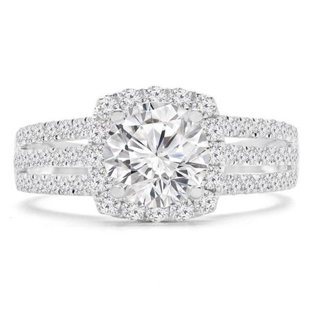 Majesty Diamonds MD190341-8.25 1.75 CTW Round Diamond Three-Row Cushion Halo Engagement Ring in 14K White Gold with Accents - Size 8.25 - image 1 of 1