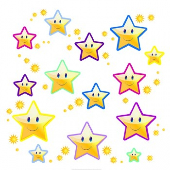 Happy Face Stars Poster Print (14 x 14)