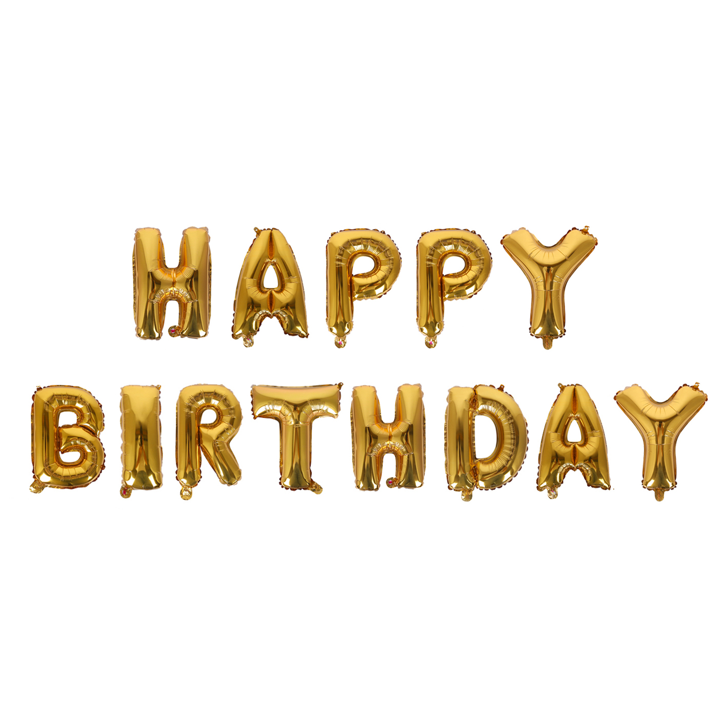 HDE Happy Birthday Balloon Banner With Pump Decorative Shiny Foil 16 Letter Balloons For Party Decoration Gold