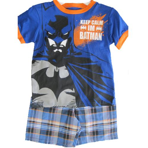 Batman Little Boys Royal Blue Superhero Print Plaid 2 Pc Shorts Set 3T