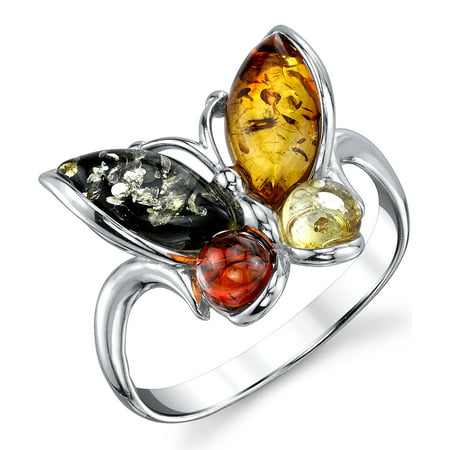Sterling Silver Baltic Amber Multi Color Butterfly Ring, Cherry Honey Cognac and Olive Colors Sizes 5 -9